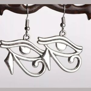 Egyptian Eye of Horus silver earrings